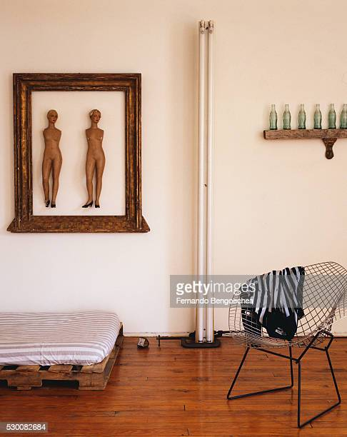 Bertoia Diamond Chair in Bedroom