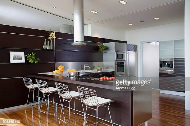 Bertoia Stools at Counter in Contemporary Kitchen