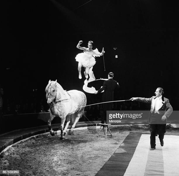 Bertram Mills Circus a performance with a horse 19th December 1958