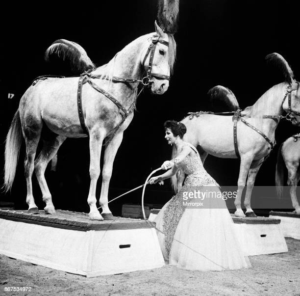 Bertram Mills Circus a woman who performs with horses 19th December 1958