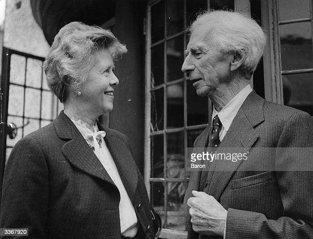 Bertrand Arthur William Russell 3rd Earl Russell the Welsh philosopher mathematician author and controversial public figure with his fourth wife...