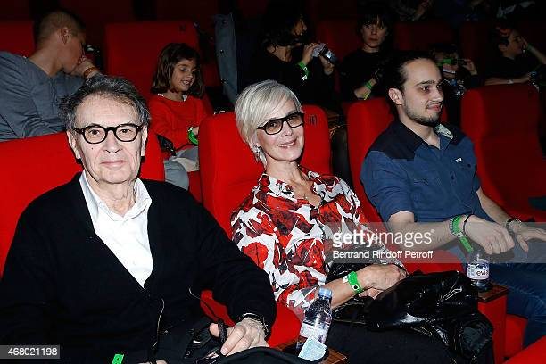 Bertrand de Labbey his wife and his son attend the Pourquoi j ai pas Mange Mon Pere Premiere At Pathe Beaugrenelle on March 29 2015 in Paris France