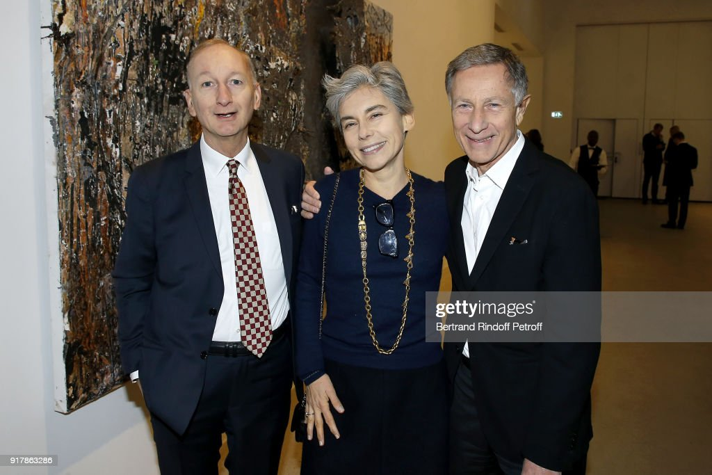 Bertrand de Saint-Vincent, Elisabeth Quin and guest attend the 'Fur Andrea Emo' Anselm Kiefer's Exhibition at Thaddeus Ropac Gallery on February 10, 2018 in Paris, France.