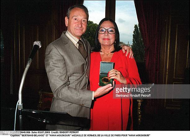Bertrand Delanoe and Nana Mouskouri Nana Mouskouri receives the Vermeil medal from the city of Paris