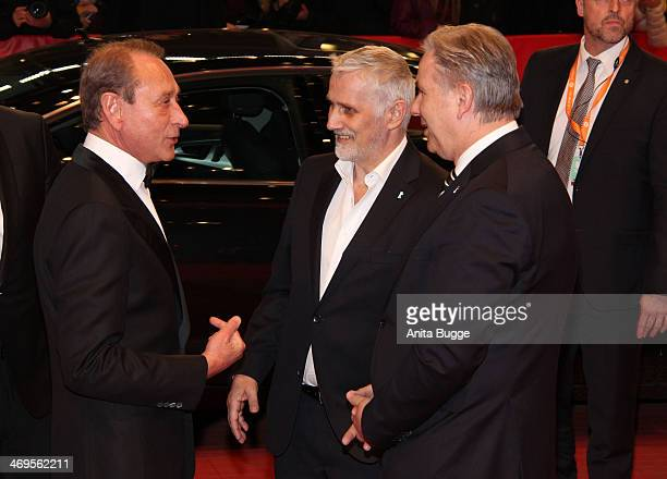 Bertrand Delanoe Joern Kubicki and Klaus Wowereit arrive for the closing ceremony during 64th Berlinale International Film Festival at Berlinale...