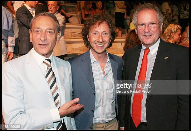 Bertrand Delanoe Mayor of Paris Stephane Bern Paul Helminger Mayor of Luxembourg at Nana Mouskouri's Farewell Concert At Odeon Herodes Atticus In...