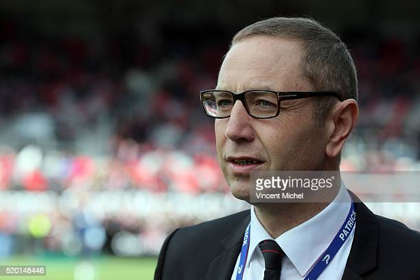 Bertrand Desplat president of Guingamp during the French League 1 match between EA Guingamp and Paris SaintGermain on April 9 2016 in Guingamp France