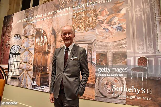 Bertrand du Vignaud poses after the Sotheby's Conference Passion for Architectural Heritage at Rue Du Faubourg SaintHonore on October 11 2016 in...
