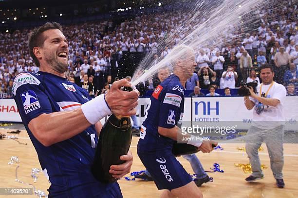 Bertrand Gille and Pascal Hens of Hamburg celebrates the German championship after the Toyota Handball Bundesliga match between HSV Hamburg and VfL...