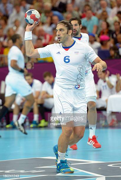 Bertrand Gille of France during the Men's Handball Gold Medal Match on Day 16 of the London 2012 Olympic Games at Basketball Arena on August 12, 2012...