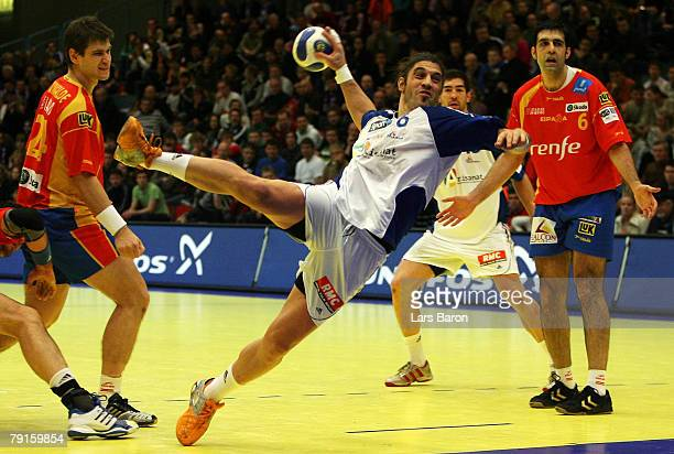 Bertrand Gille of France in action during the Men's Handball European Championship main round Group II match between Spain and France at Trondheim...