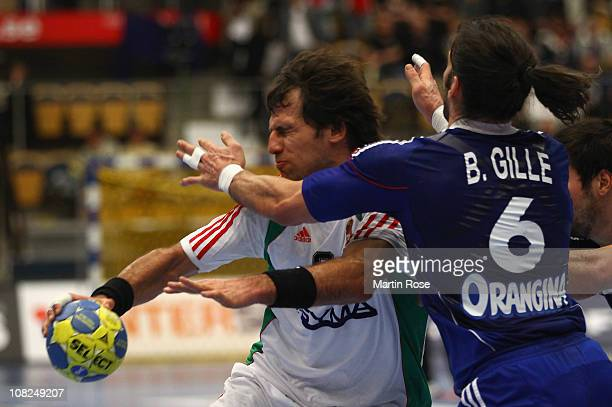 Bertrand Gille of France is challenged by Tamas Mocsai of Hungary during the Men's Handball World Championship main round group I match between...