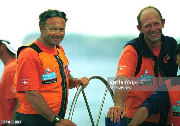 "Bertrand Pace , skipper of French Le Defi syndicate yacht ""6 Sens"" is all smiles after beating Paul Cayard's ""America One"" on the tenth race day of..."