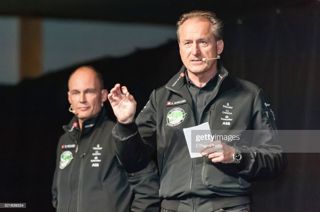Bertrand Piccard and Andre Borschberg : Stock Photo