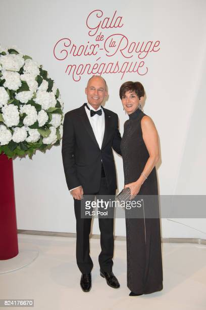 Bertrand Piccard and his wife Michele attend the 69th Monaco Red Cross Ball Gala at Sporting MonteCarlo on July 28 2017 in MonteCarlo Monaco