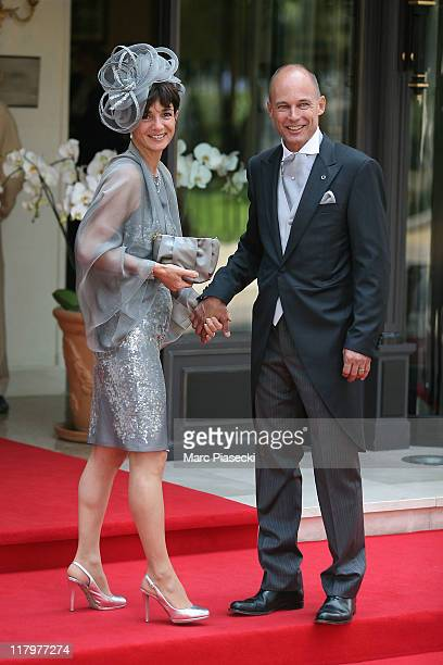 Bertrand Piccard and his wife Michele Piccard are sighted at the 'Hermitage' hotel to attend the Royal Wedding of Prince Albert II of Monaco to...