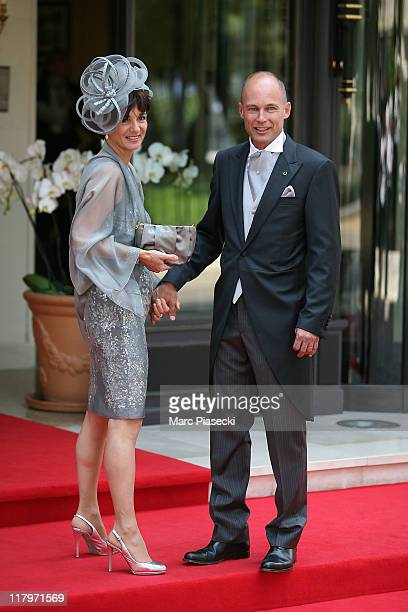 Bertrand Piccard and his wife Michele Piccard are sighted leaving the 'Hermitage' hotel to attend the Royal Wedding of Prince Albert II of Monaco to...