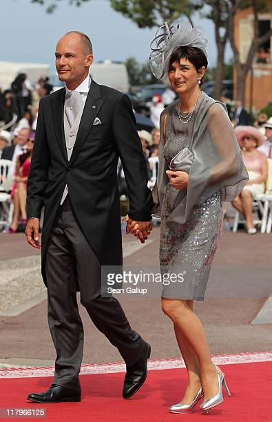 Bertrand Piccard and wife Michele Piccard attend the religious ceremony of the Royal Wedding of Prince Albert II of Monaco to Princess Charlene of...