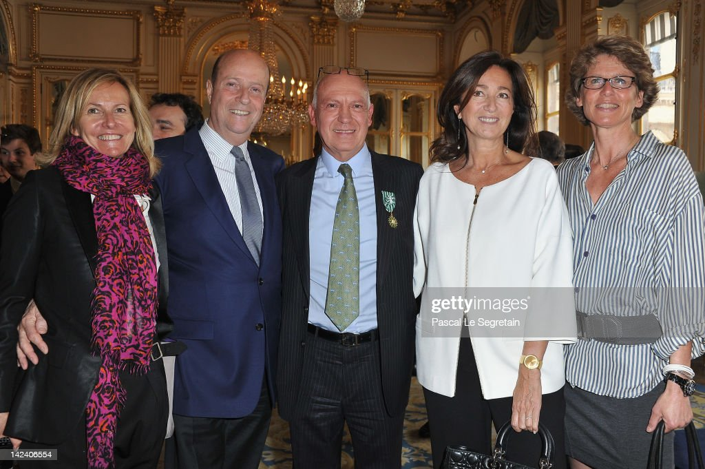 Bertrand Rindoff Petroff Officier des Arts et Des Lettres (3rdL) honored Chevalier Des Arts et Lettres by French Culture Minister poses with ( L-R) Frederique Fetiveau, Bernard Danillon de Cazella, Katia Toledano and Valerie Rindoff Petroff at Ministere de la Culture on April 4, 2012 in Paris, France.