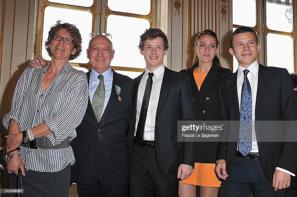 Bertrand Rindoff Petroff Officier des Arts et Des Lettres (2ndL) honored Chevalier Des Arts et Lettres by French Culture Minister poses with (L-R) Valerie Rindoff Petroff, Benjamin, Alexia and Constentin Rindoff Petroff at Ministere de la Culture on April 4, 2012 in Paris, France.