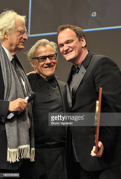 Bertrand Tavernier, Harvey Keitel and Quentin Tarantino attend the 5th Lyon Film Festival on October 18, 2013 in Lyon, France.