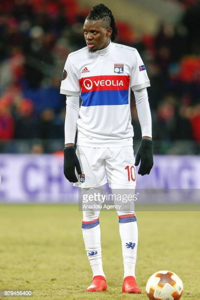 Bertrand Traoré of Olympique Lyonnais is seen during the UEFA Europa League round of 16 first leg soccer match between CSKA Moscow and Olympique...