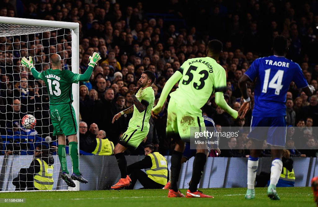 Bertrand Traore (R) #14 of Chelsea scores his team's fifth goal during The Emirates FA Cup fifth round match between Chelsea and Manchester City at Stamford Bridge on February 21, 2016 in London, England.
