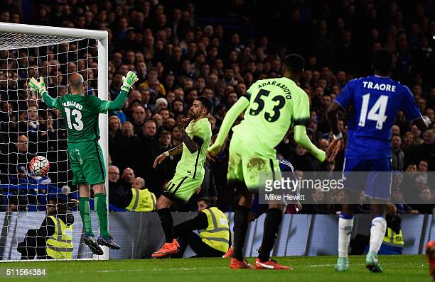 Bertrand Traore of Chelsea scores his team's fifth goal during The Emirates FA Cup fifth round match between Chelsea and Manchester City at Stamford...