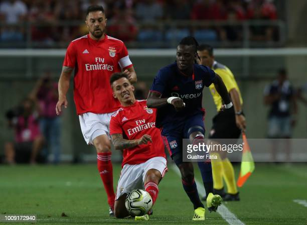 Bertrand Traore from Lyon with Alex Grimaldo from SL Benfica in action during the International Champions Cup match between SL Benfica and Lyon at...