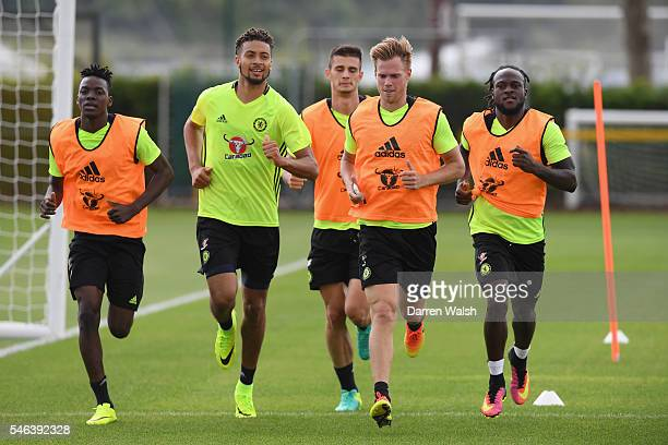 Bertrand Traore Michael Hector Matt Miazga Tomas Kalas Victor Moses during a Chelsea training session at Chelsea Training Ground on July 12 2016 in...