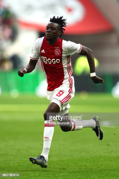 Bertrand Traore of AFC Ajax in action during the Eredivisie match between AFC Ajax and Feyenoord at Amsterdam Arena on April 2 2017 in Amsterdam...