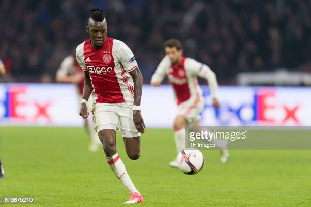 Bertrand Traore of Ajax Amsterdam controls the ball during the UEFA Europa League Quarter Final first leg match between Ajax Amsterdam and FC Schalke...