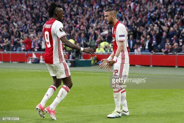 Bertrand Traore of Ajax Hakim Ziyech of Ajaxduring the UEFA Europa League semi final match between Ajax Amsterdam and Olympique Lyonnais at the...