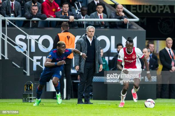 Bertrand Traore of Ajax in a duel with Paul Pogba of Manchester United during the UEFA Europa League final between Ajax and Manchester United at...