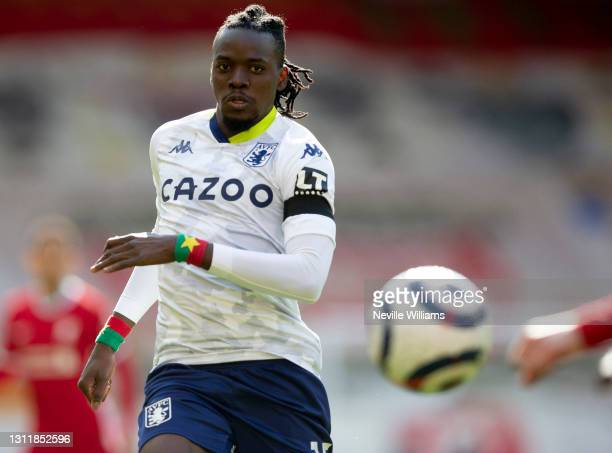 Bertrand Traore of Aston in action during the Premier League match between Liverpool and Aston Villa at Anfield on April 10, 2021 in Liverpool,...