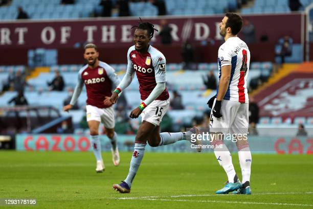 Bertrand Traore of Aston Villa celebrates after scoring his team's first goal during the Premier League match between Aston Villa and Crystal Palace...