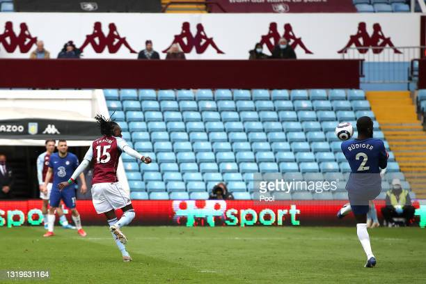 Bertrand Traore of Aston Villa scores their side's first goal during the Premier League match between Aston Villa and Chelsea at Villa Park on May...