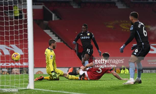 Bertrand Traore of Aston Villa scores their team's first goal during the Premier League match between Manchester United and Aston Villa at Old...