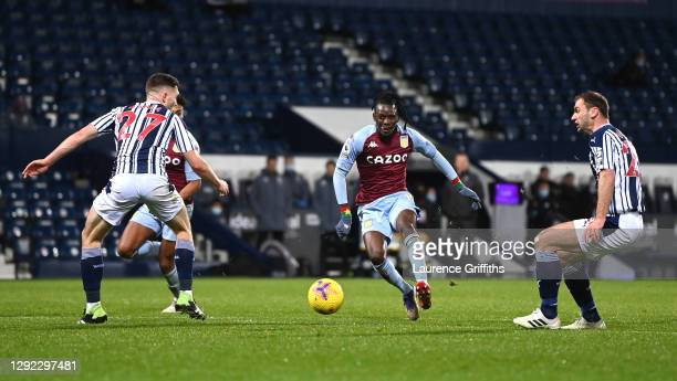 Bertrand Traore of Aston Villa scores their team's second goal during the Premier League match between West Bromwich Albion and Aston Villa at The...