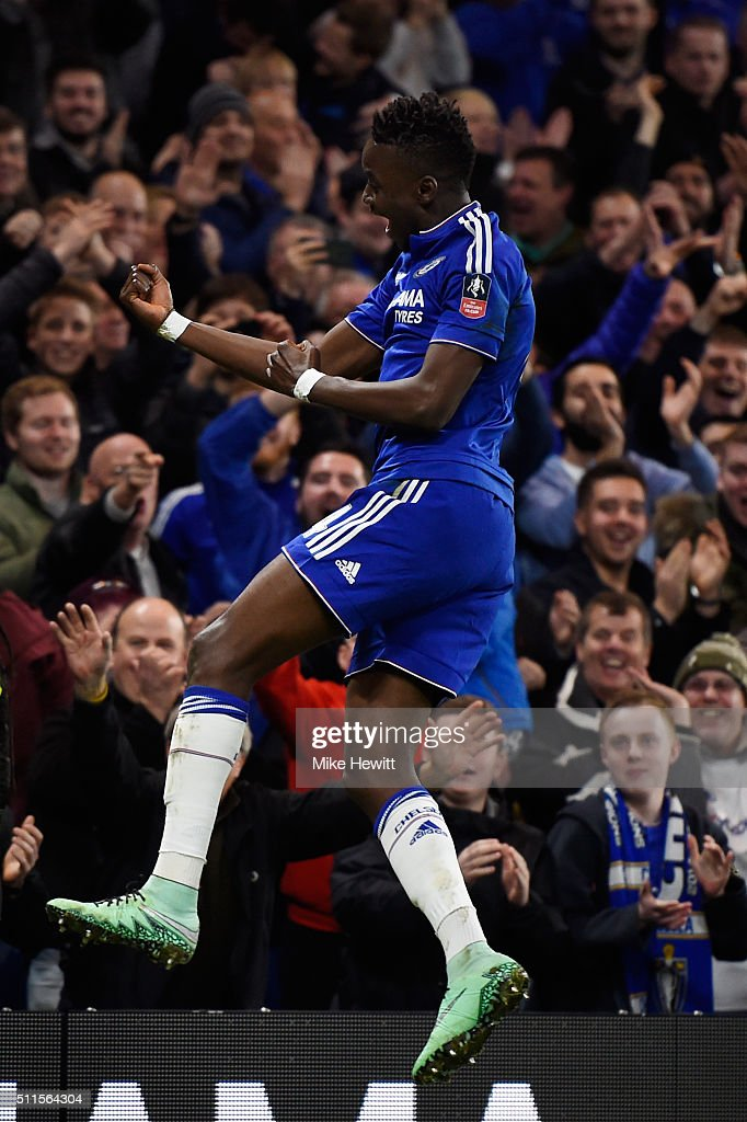 Bertrand Traore of Chelsea celebrates after scoring his team's fifth goal during The Emirates FA Cup fifth round match between Chelsea and Manchester City at Stamford Bridge on February 21, 2016 in London, England.