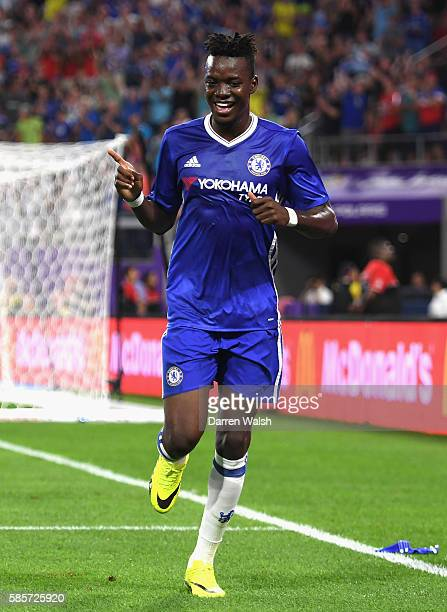 Bertrand Traore of Chelsea celebrates scoring his sides first goal during the 2016 International Champions Cup match between Chelsea and AC Milan at...