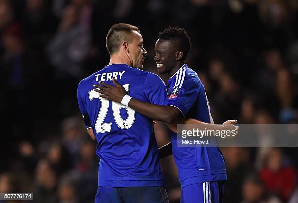 Bertrand Traore of Chelsea celebrates scoring his team's fifth goal with John Terry during the Emirates FA Cup Fourth Round match between Milton...