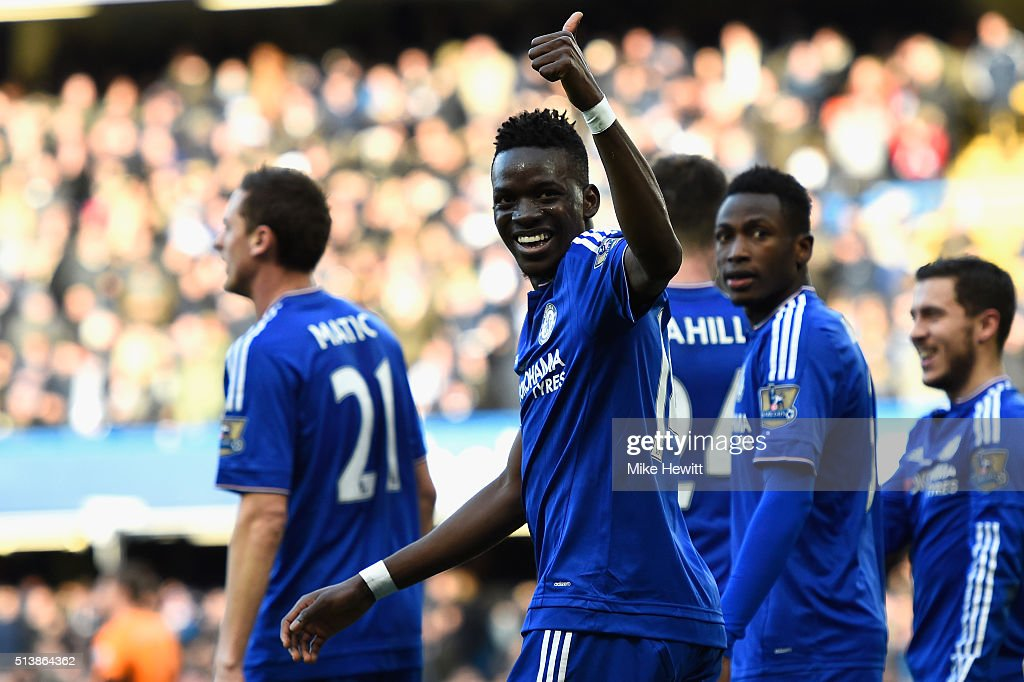 Bertrand Traore of Chelsea celebrates scoring his team's first goal during the Barclays Premier League match between Chelsea and Stoke City at Stamford Bridge on March 5, 2016 in London, England.