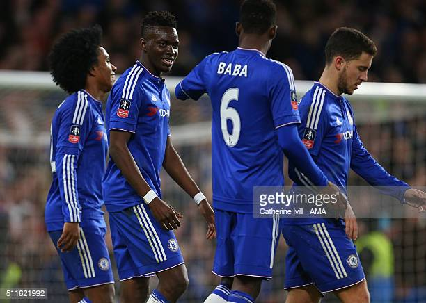 Bertrand Traore of Chelsea celebrates with his team mates during the Emirates FA Cup match between Chelsea and Manchester City at Stamford Bridge on...