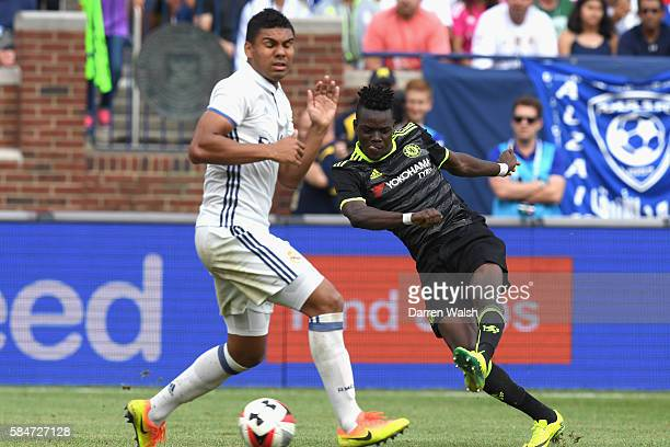 Bertrand Traore of Chelsea in action during the 2016 International Champions Cup match between Real Madrid and Chelsea at Michigan Stadium on July 30...