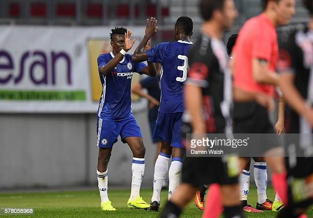 Bertrand Traore of Chelsea is congratulated by Papy Djilobodji of Chelsea after scoring the opening goal during the pre season friendly match between...