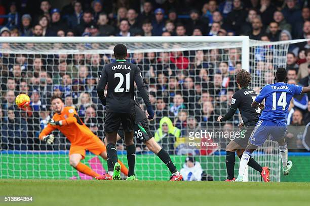 Bertrand Traore of Chelsea scores his team's first goal during the Barclays Premier League match between Chelsea and Stoke City at Stamford Bridge on...