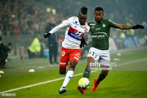 Bertrand Traore of Lyon and Habib Maiga of Saint Etienne during the Ligue 1 match between AS SaintEtienne and Olympique Lyonnais at Stade...