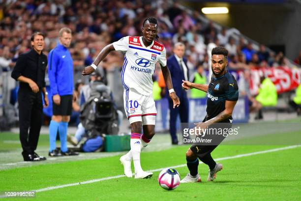 Bertrand Traore of Lyon and Jordan Amavi of Marseille during the Ligue 1 match between Lyon and Marseille at the Groupama Stadium on September 23...