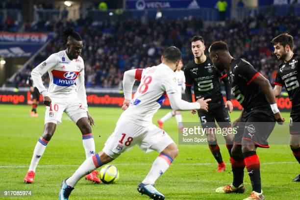Bertrand Traore of Lyon and Nabil Fekir of Lyon during the Ligue 1 match between Olympique Lyonnais and Stade Rennes at Parc Olympique on February 11...
